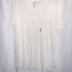 """Zara Graphic Tee NWT Cream """"The World is Ours""""  M"""
